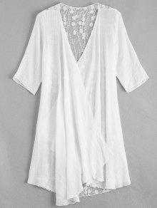Sheer Embroidery Kimono Cover Up - White