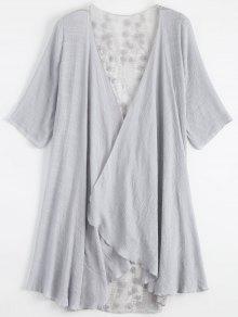 Kimono Bordado Com Renda Transparente  - Cinza Claro