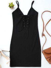 فستان الرباط كامي محبوك ضيق - أسود