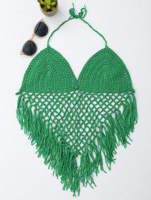 Halter Open Back Crochet Fringe Top - Green