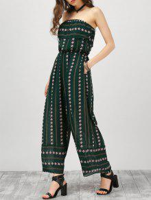Strapless Ruffle Argyle Wide Leg Jumpsuit - Blackish Green L