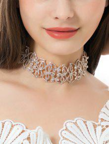 Collar Brillante De La Hoja Del Rhinestone De La Aleación - Dorado