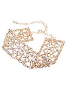 Collar Geométrico Del Rhinestone De La Aleación Brillante - Dorado