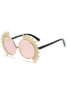 معدن شمس تصميم إطار مرآة جولة النظارات الشمسية - زهري