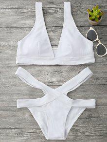 Midi Bikini Con Escote Pico Con Tren Inferior De Vendaje - Blanco S