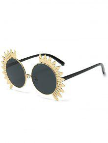 Metal Sun Design Frame Mirror Round Sunglasses - Black