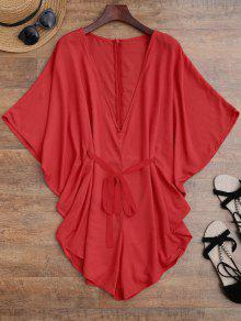 Drawstring Cover Up Batwing Romper - Red S