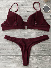 a217f71c635 19% OFF] 2019 Underwire Push Up Thong Bikini Set In BURGUNDY | ZAFUL