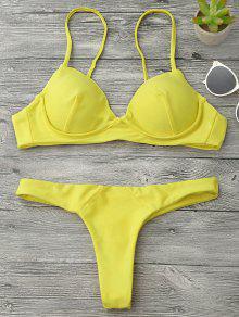 Underwire Push Up Thong Bikini Set - Yellow S