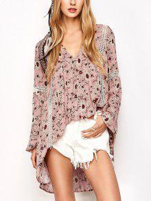 Impresión Floral Vestido De Boho Oscilación - Rosa S