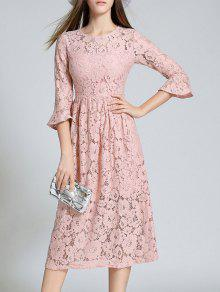 Round Neck Flare Sleeve Lace Dress - Pink L