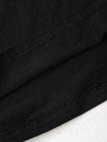 V Flor Applique Negro Cuello S Cami Camiseta wzEdqER