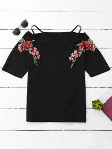 Cami Flower Applique V Neck T-Shirt - Black L