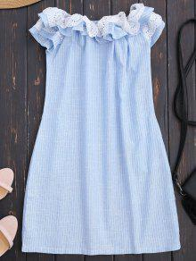 Off Shoulder Ruffle Striped Dress With Pockets - Light Blue L