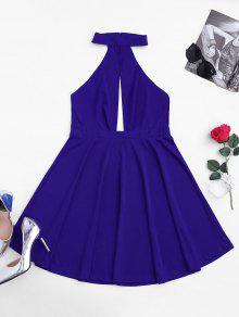 فستان بلا أكمام غارق شبكي عارية الظهر - أزرق S