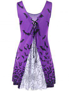 Vestido Con Cuello De Pico - Púrpura L