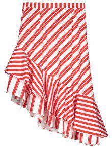 Two Tone Asymmetric Mermaid Striped Skirt - Red Xs
