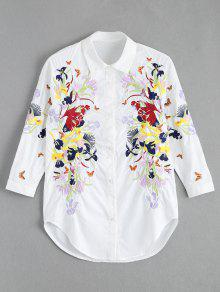Floral Butterfly Embroidered Shirt - White L