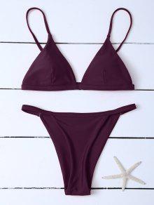Low Waisted Spaghetti Strap Bikini Swimwear - Wine Red Xl
