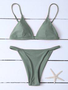 Low Waisted Spaghetti Strap Bikini Swimwear - Greyish Green M