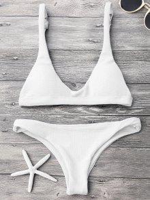 Traje De Bikini Con Escote En U Con Relleno Con Cinruta Baja - Blanco M