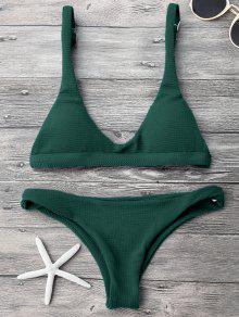 Low Waisted Padded Scoop Bikini Set - Green M