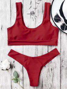 U Neck Bralette Thong Bikini Set - Red M