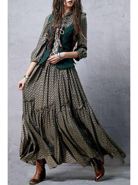 shop Stand Neck Embroidered Tiny Floral Vintage Dresses - BLACKISH GREEN S