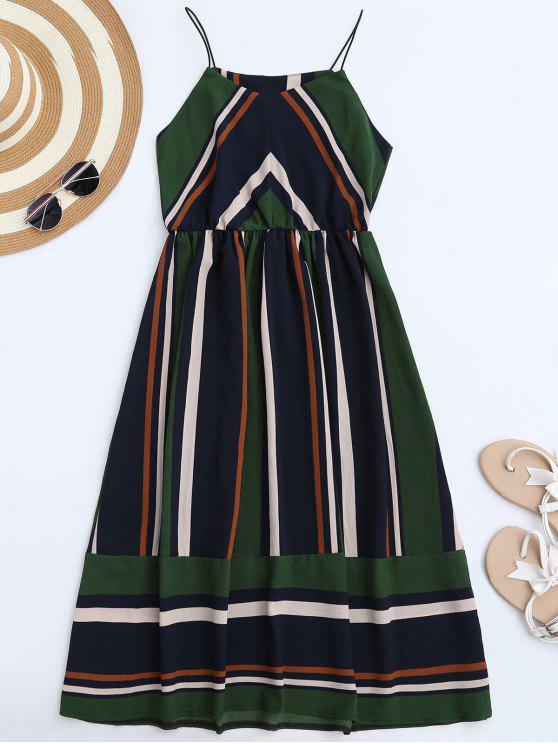 فستان  الشمس متعددة الشريط كامي ميدي - أخضر XL