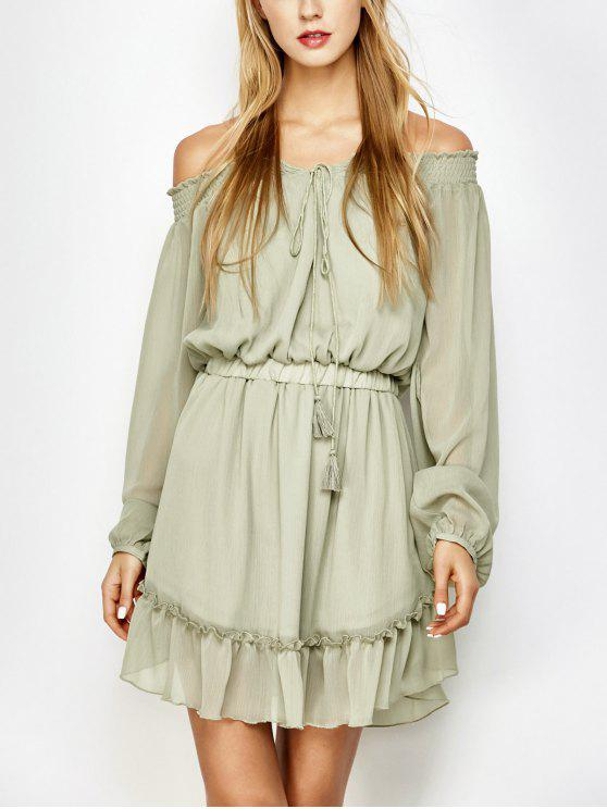 best Off The Shoulder Chiffon Ruffle Mini Dress - LIGHT GREEN M