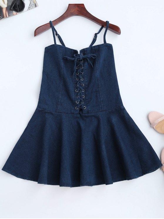 fancy Denim Lace Up Skater Dress - DENIM BLUE S