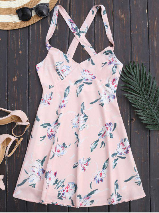 Robe d'été à dos nu imprimée de motif floral - Rose Clair S