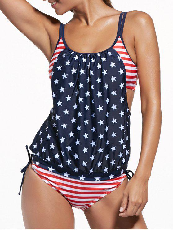 hot Union Flag Patriotic Swimwear Tankini with Padded Bra - BLUE AND RED L