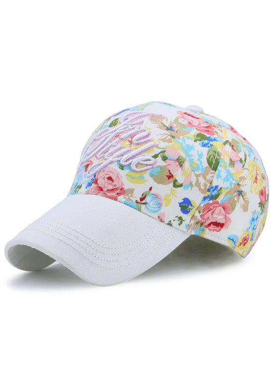 women Floral Printed Letters Embroidery Baseball Hat - WHITE