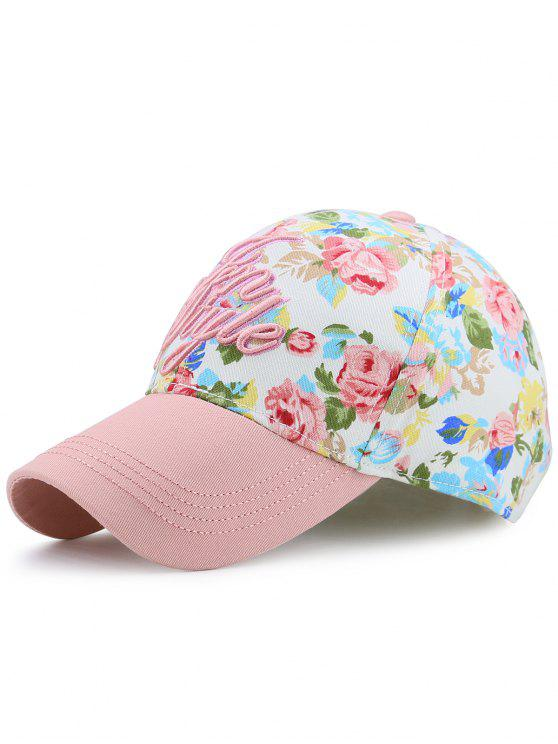 women's Floral Printed Letters Embroidery Baseball Hat - PINK