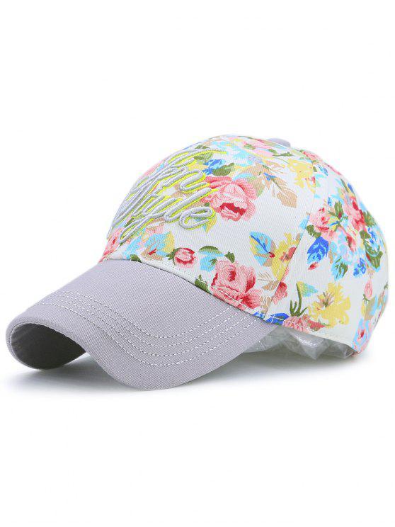 الأزهار المطبوعة خطابات التطريز قبعة بيسبول - رمادي