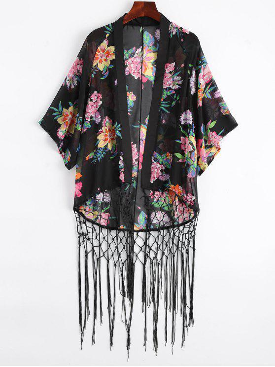 chic Floral Fishnet Fringed Kimono - BLACK L