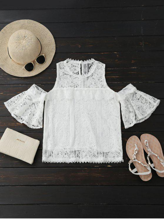 latest Cold Shoulder Flare Sleeve Lace Top - WHITE M