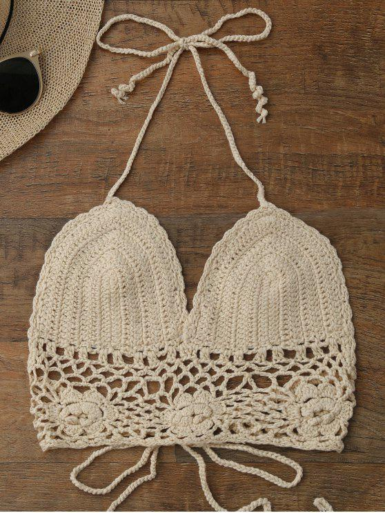 chic Crochet Unlined Backless Crop Top - PALOMINO ONE SIZE