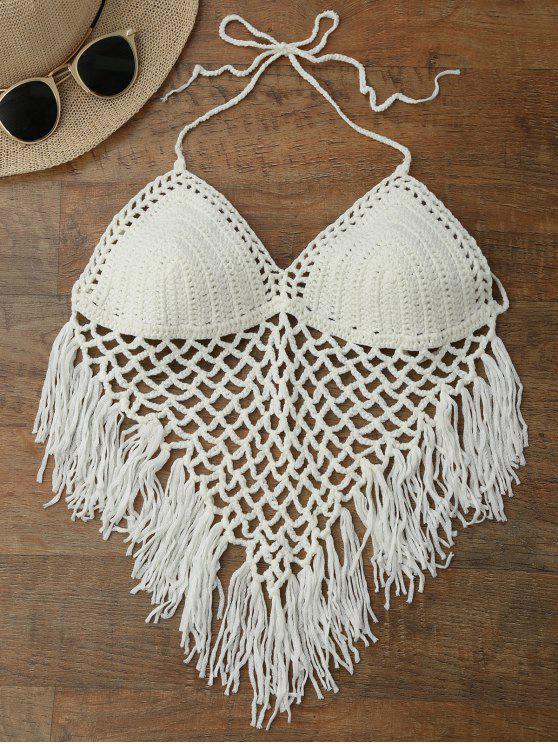 sale Halter Open Back Crochet Fringe Top - WHITE ONE SIZE