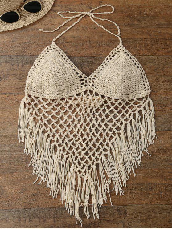 affordable Halter Open Back Crochet Fringe Top - BEIGE ONE SIZE