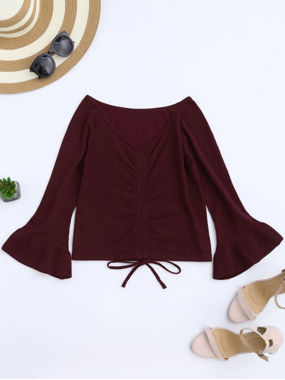 outfits Flare Sleeve Knitting Tied Top - WINE RED ONE SIZE