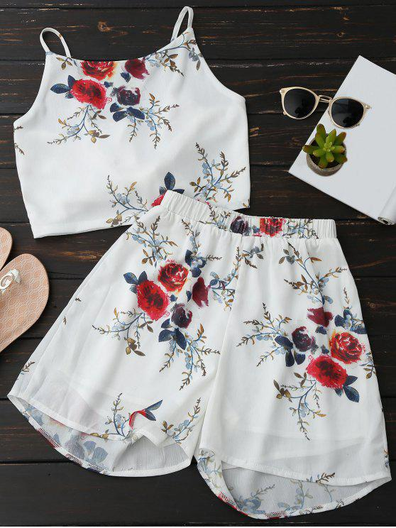 fancy Floral Backless Crop Top and Chiffon Shorts - WHITE L