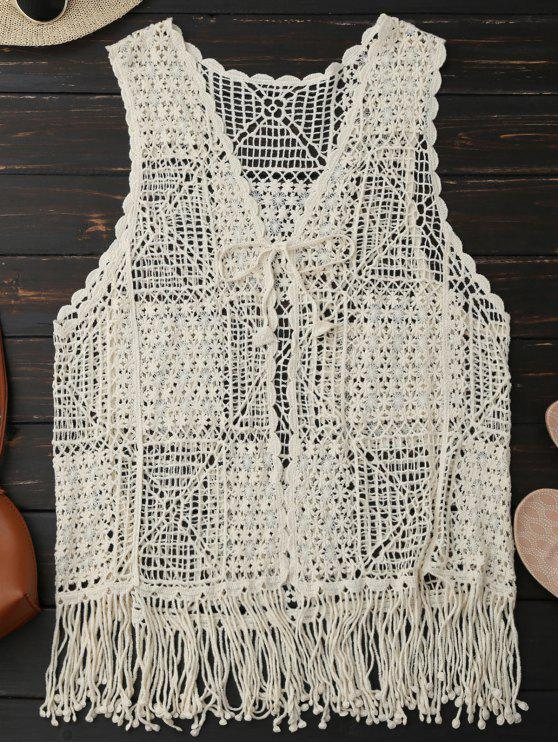 buy Crocheted Lace Sleeveless Fringed Cover Up - PALOMINO ONE SIZE