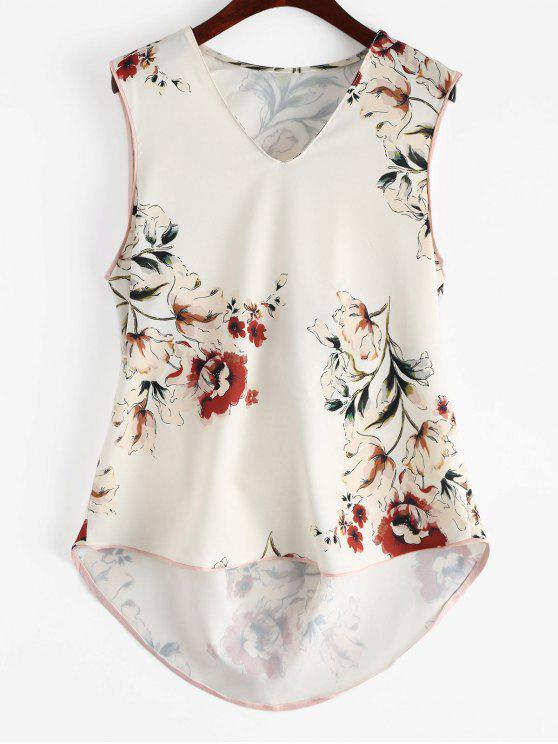 chic Floral High Low Tank Top - FLORAL M