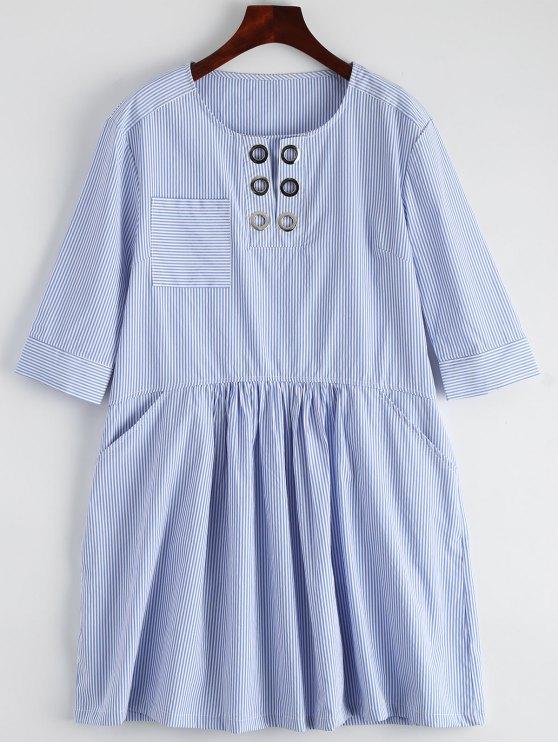 unique Striped Casual Dress With Pocket - STRIPE L