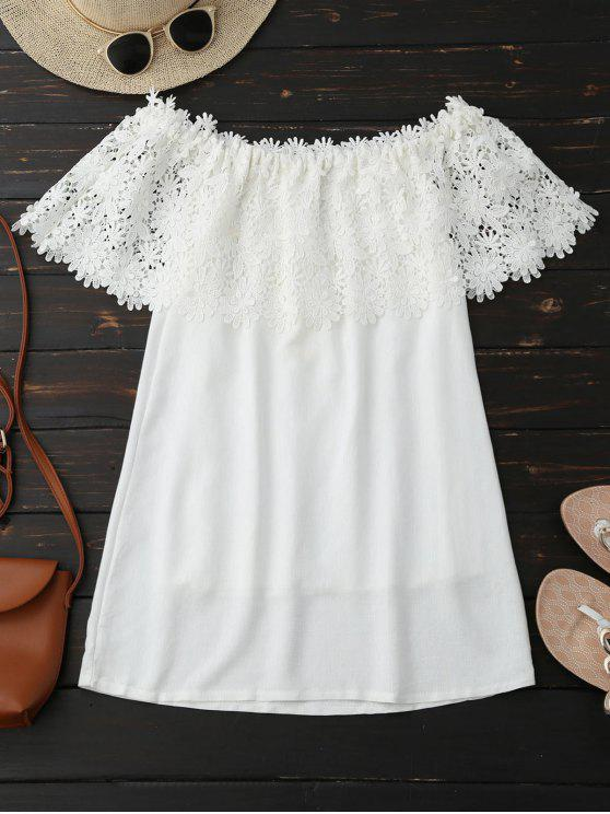 trendy Off Shoulder Crocheted Lace Panel Top - WHITE L