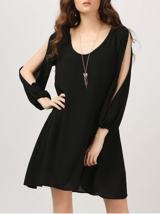 lady Chiffon Split Sleeve Tunic Dress - BLACK L