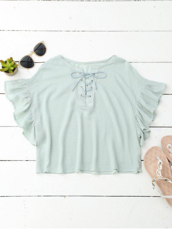 Cropped Lace Up Ruffled T-Shirt - Menta S