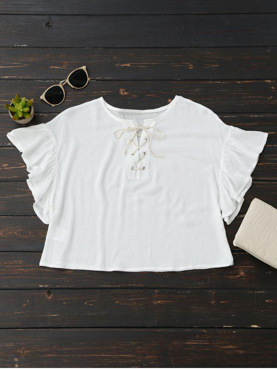 Cropped Lace Up Ruffled T-Shirt - Blanco S